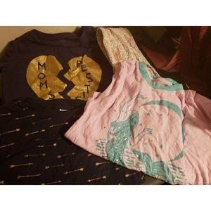 Girls clothing lot size 7/8 3 shirts, 1 leggings